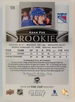 Adam Fox 2019-20 Ud The Cup Rookie Auto (3 Couleurs) Patch #086/249