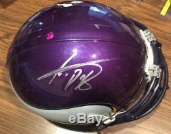 Adrian Peterson Autographié Signé 2013 Jeu Occasion Vikings Casque