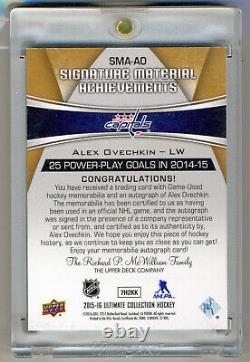 Alex Ovechkin 2015-16 Ultimate Collection Gold Jeu Utilisé Logo Patch Auto 7/15