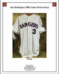 Alex Rodriguez Jeu Utilisé Worn Jersey Texas Rangers 2003 Signés & Inscribed