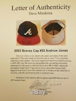 Andruw Jones 2003 Braves Dédicacé Cap, Jones, Jsa & Miedema Loas