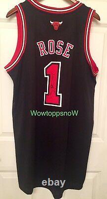 Autographed Auto Derrick Rose Jeu Worn/used Home Black Chicago Bulls Jersey Coa