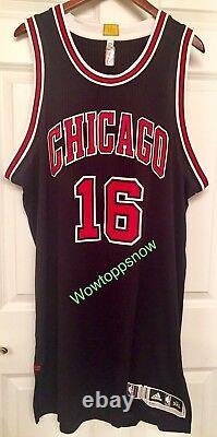 Autographed Auto Pau Gasol Jeu Porté /used Home Black Chicago Bulls Jersey With Coa