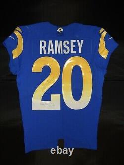 Autographié 2020 Jeu Usé Usé Jalen Ramsey Jaguars Rams Jersey 2 Jeux
