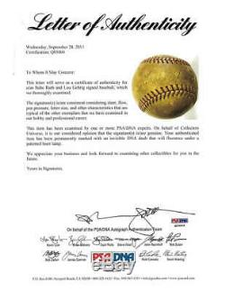 Babe Ruth & Lou Gehrig - Jeu Autographié Et Signé - Oal Baseball Psa / Dna