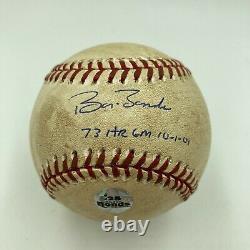 Barry Bonds 73e Course À Domicile Jeu Signé Jeu De Baseball Usagé 10-01-2001 Psa Dna Coa