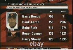 Barry Bonds Signé Jeu Utilisé Record Hr 756 Baseball Passe De Baseball Hank Aaron Babe Ruth