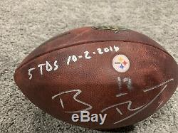 Ben Roethlisberger Pittsburgh Steelers Jeu Utilisé Signe Football 02.10.16 Avec Coa