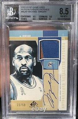 Bgs 8.5/9 Michael Jordan 2002/03 Jeu Sp Utilisé Patch Auto #d 23/50 Jersey # 1/1