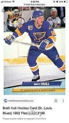 Brett Hull Jeu Utilisé Bâton Signé / Rare Début St Louis Blues / Loa
