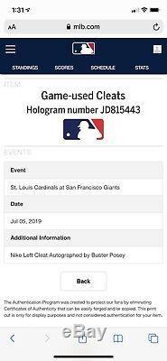 Buster Posey San Francisco Giants Jeu Utilisé Crampons 4ème Juillet Signé Mlb Auth