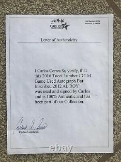 Carlos Correa Houston Astros 2016 Jeu D'occasion Et Signé Mlb Bat Avec Coa