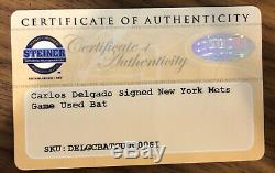 Carlos Delgado Jeu Bat Anciens Et D'occasion À New York Mets Steiner Coa Auto