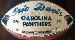Carolina Panthers Eric Davis Signe Jeu De Balle Utilisé Présentation Football Loa