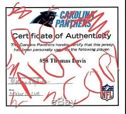 Carolina Panthers Thomas Davis Jeu Patch Usé Coa Signé Captain Patch Td