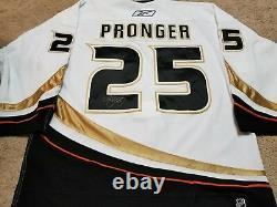 Chris Pronger 06'07 Saison De La Coupe Signé Anaheim Ducks Jeu Usé Maillot Usé W Coa