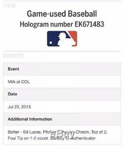 Christian Yelich Mlb Début 23.07.13 Jeu Utilisé Baseball Mvp Coa Non Autosigné