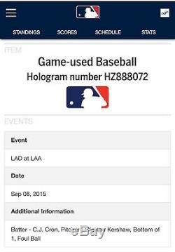 Clayton Kershaw Signe Jeu Utilisé Baseball Dodgers Mlb Psa Authentification Hof