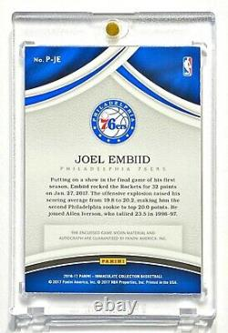 Collection Panini Immaculée 2016-17 Joel Embiid #1/25 Red Game Worn Patch Auto