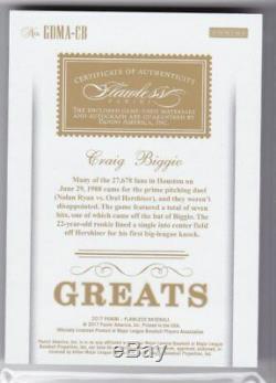 Craig Biggio 17 Flawless Greats Jeu Utilisé Patch Jersey Auto Signé Astros 5/10