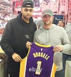 D'angelo Russell Signed Game Used/worn Lakers Auto Rookie Jersey (meigray Loa)