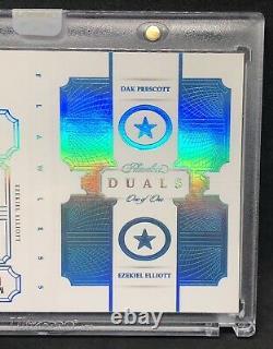 Dak Prescott Ezekiel Elliott 2018 Flawless Game Worn Utilisé NFL Shield Auto 1/1
