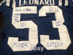 Darius Leonard D-roy Auto Jeu Utilisé Worn Colts Jersey Signé Coa Photomatched