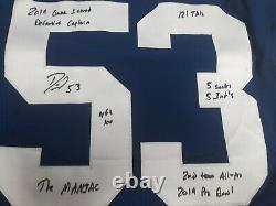 Darius Leonard Jeu Utilisé Signé Signé Maillot Autographié Indianapolis Colts Super Rare