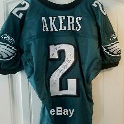 David Akers Jeu Utilisé / Porté Émis Émis Par La NFL / Autographe Philadelphia Eagles