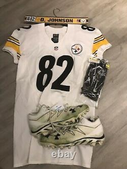 David Johnson Steelers Signé Game Used Worn Jersey Cleats Nameplate Gloves Wuto