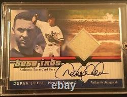 Derek Jeter 2001 Fleer E-x Autograph Signé Sur Le Jeu De Cartes Used Base'base Inks