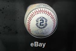 Derek Jeter Signée À La Main Autographié Jeu D'occasion 2014 Mlb Baseball Framed Steiner