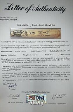 Don Mattingly Jeu Bat Utilisé Et Signé 1986-1989 Avec Psa Yankees