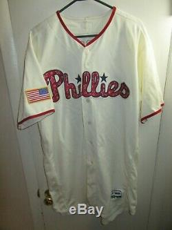 Dylan Cozens Phillies 2018 Game Used Stripes & Stars Photo Match Jersey Signe