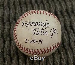 Fernando Tatis Jr. Jeu Utilisé Baseball Première Carrière Mlb Hit Mlb Auth Signé