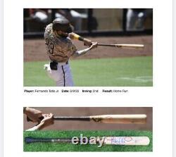 Fernando Tatis Jr. San Diego Padres Jeu Utilisé Bat Hr 2020 Apparié Signé