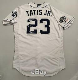 Fernando Tatis Jr. San Diego Padres Jeu Utilisé Worn Jersey Hr # 18 Signé Mlb Auth