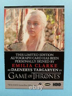 Game Of Thrones Saison 1 Carte Autographe Emilia Clarke Daenerys Targaryen