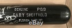 Gary Sheffield Jeu Utilisé Marlins Bat Doué À Lee Smith Autographié / Signé