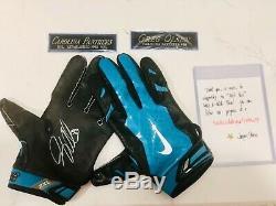 Greg Olsen Jeu Carolina Panthers Utilisé Des Gants À Double Signé Avec Plaques De Nom
