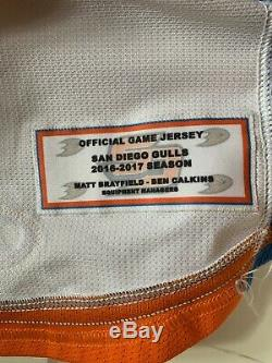 Gulls De San Diego Ondrej Kase Jeu Signé D Occasion Worn Hockey Jersey Ducks D'anaheim