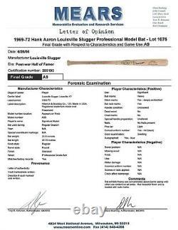 Hank Aaron Jeu Utilisé Signé Signé Auto Baseball Bat A9 Psa Dna Mears