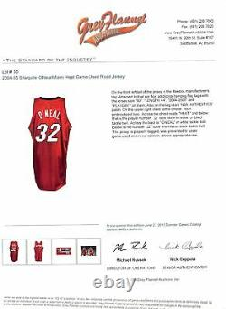 Heat Shaquille O'neal Signed Game Used 2004-05 Red Road Reebok Jersey With Loas