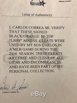 Hou La La! 2016 Carlos Correa Jeu Utilisé Et Autographié Adidas Lion Crampons Loa & Sgc