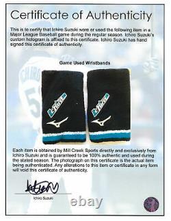 Ichiro Suzuki Jeu Bracelets Usés Avec Certificat Signé Seattle Mariners 154033