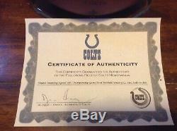Indianapolis Colts Coa Signé Championnat Afc Peyton Manning Jeu Utilisé Football