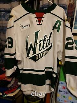 Iowa Wild Game-worn Hockey Jersey (porté Et Signé Par Marc Hagel) -54-ahl