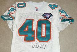 Irving Spikes #40 Signé Auto Miami Dolphins Jeu Utilisé 1994 75th Ann. Jersey