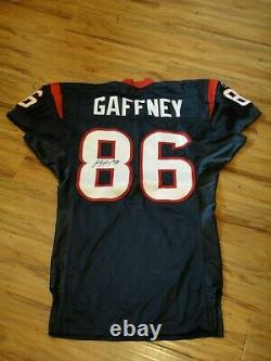 Jabar Gaffney Jeu Utilisé Usé 2002 Saison Inaugurale Houston Texans Jersey Signé