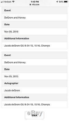 Jacob Degrom Mets De New York Jeu D'occasion Bat 2015 Excellente Utilisation Mlb Auth Signé